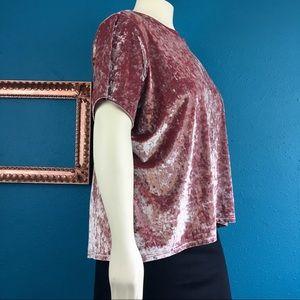 Tops - Velvet top dusty pink, open crossed back, sz 3X